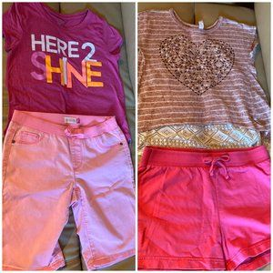 Two Girls Summer Outfits Size 14 Shorts T-Shirts